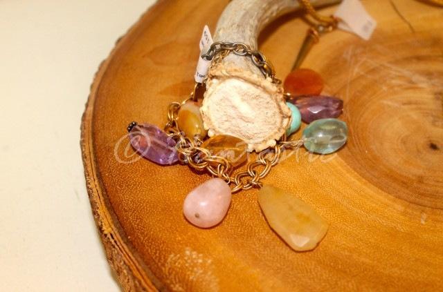 """honey bracelet"" 14k gold with semiprecious stones $160"